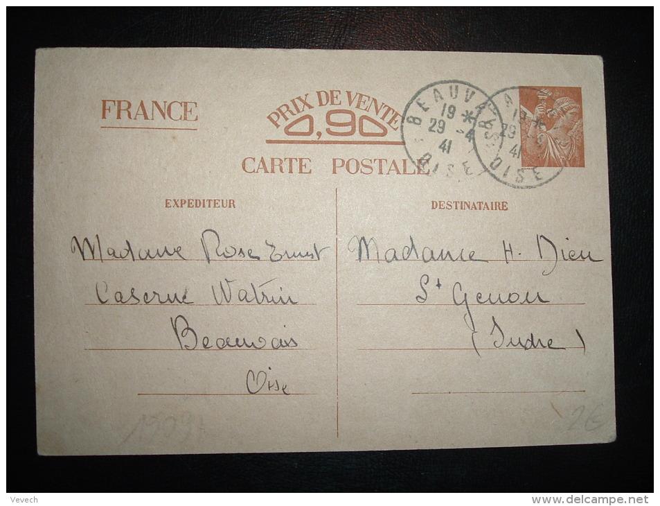 CP ENTIER IRIS PRIX DE VENTE 0,90 OBL. 29-4-41 BEAUVAIS (60 OISE) - Guerre De 1939-45