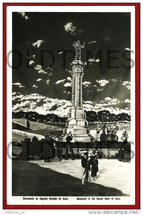 FATIMA - MONUMENTO AO SAGRADO CORACAO DE JESUS - 1950 REAL PHOTO PC - Santarem