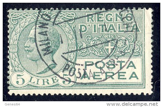 Effigie Di Vittorio Emanuele III - 1926/28 - 5 Lire Verde (Sassone A7) - Correo Aéreo