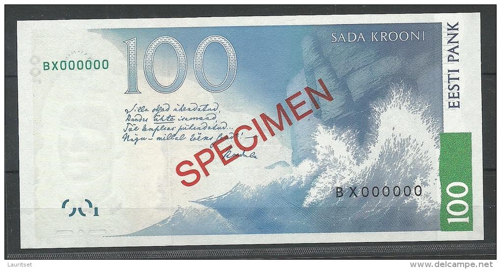 Estland Estonia Estonie 100 Krooni 1999 Banknote SPECIMEN UNC - Estonie
