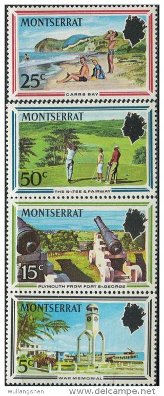 GN0036 Montserrat 1970 Monument Beach Stadium 4v MNH - Montserrat