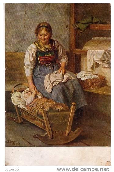 Childrens /Enfant -      Old Card - Uset/travel - Bebes