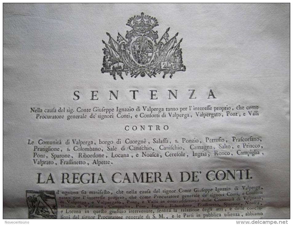 Piemonte - Torino - Canavese -  Sentenza 1783 - Divieto Ricerca Oro - Ingria, Ronco, Valprato, Etc - Sin Clasificación