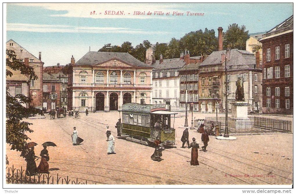 Sedan (Ardennes)-1921-Hôtel De Ville-Place Turenne-Pub. Dubonnet Et Bloc Persan Sur Tram-Tramway-Animée-Color Isée - Sedan