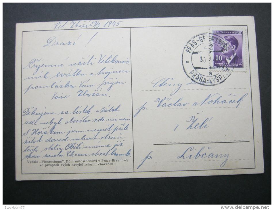 Böhmen + Mähren, Bahnstempel Auf Karte - Occupation 1938-45