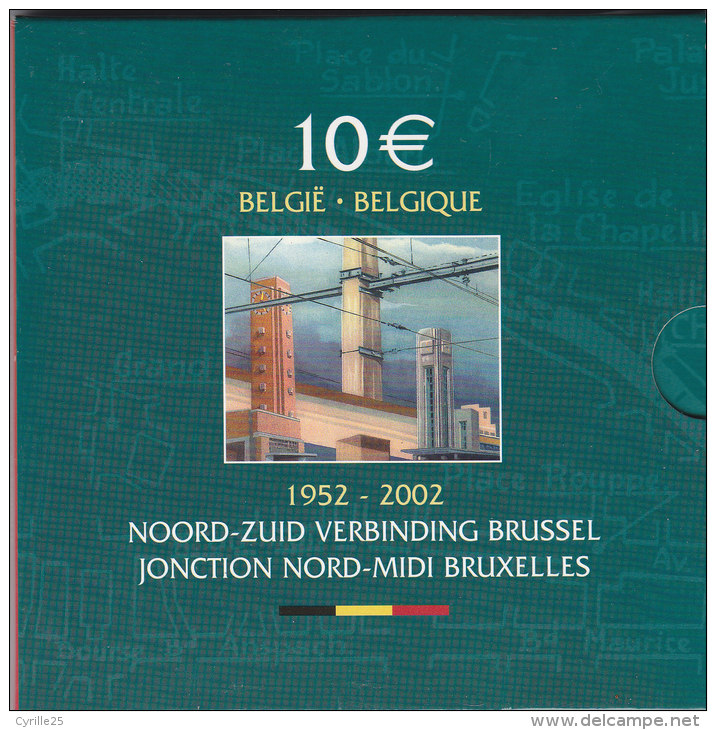 10 EURO Argent JONCTION NORD-MIDI BRUXELLES QP  PROOF-BELLE EPREUVE Avec 8 BILS Au Lieu De 5 - Collections