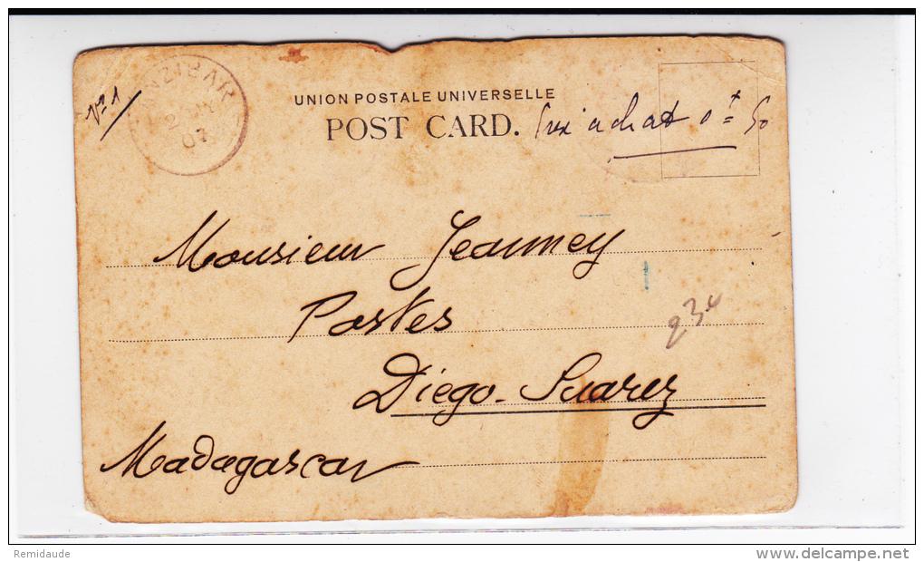 EAST AFRICA AND UGANDA  - 1907 - CARTE POSTALE De MOMBASA (KENYA) Pour DIEGO SUAREZ Via ZANZIBAR - Kenya, Uganda & Tanganyika