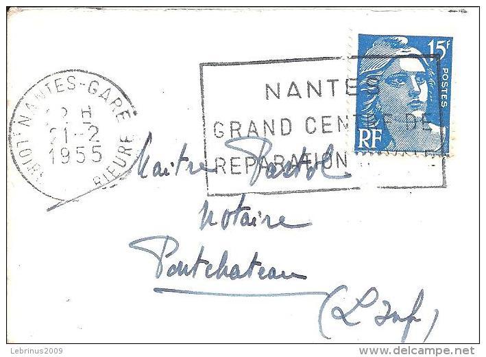 """Petite Enveloppe De Carte De Visite .FlamMe """"NANTES GRAND CENTRE DE REPARATION NAVALE """" 1955 Sur Gandon N° 886 - Marcophilie (Lettres)"""