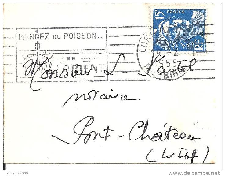 """Petite Enveloppe De Carte De Visite .Flamme """"MANGEZ DU POISSON DE LORIENT """" 1955 Sur Gandon N° 886 - Marcophilie (Lettres)"""