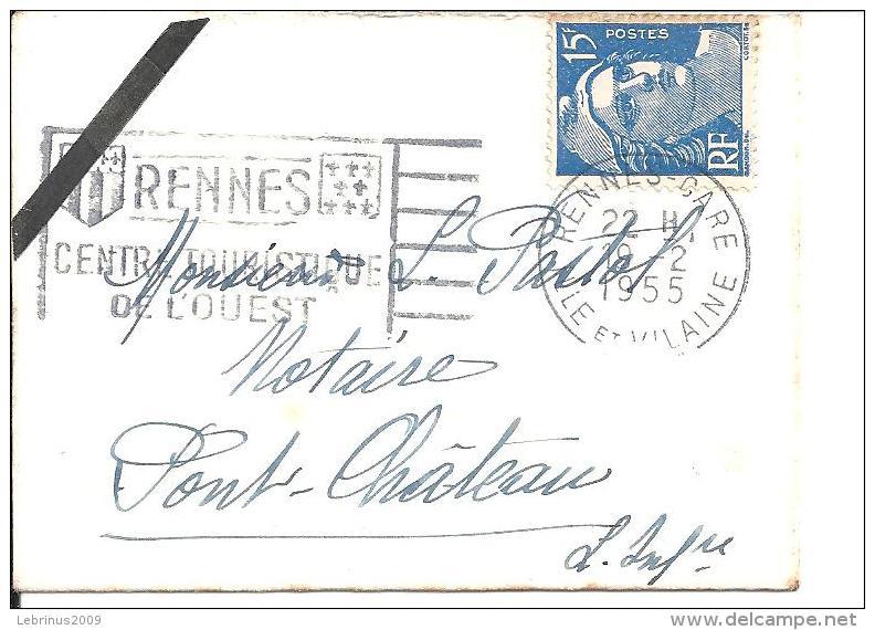 """Petite Enveloppe De Carte De Visite .Flamme """"RENNES CENTRE TOURISTIQUE DE L´OUEST"""" 1955 Sur Gandon N° 886 - Oblitérations Mécaniques (flammes)"""