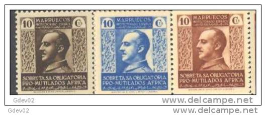 MABE1-L33213TBE.Maroc.Marocco.MARRUECOS   ESPAÑOL..BENEFICENCIA.Gen Eral Franco. 1937/9. (Ed  1/3**) Sin Charnela.LUJO - Beneficiencia (Sellos De)
