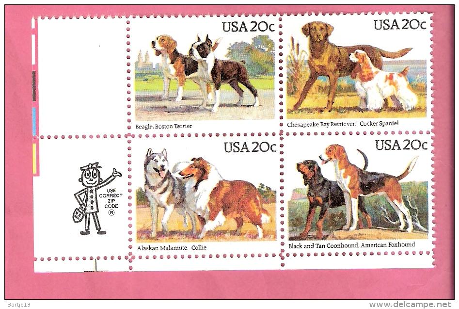 USA  DOGS 1984  BLOCk Of 4 Stamps MNH - Etats-Unis