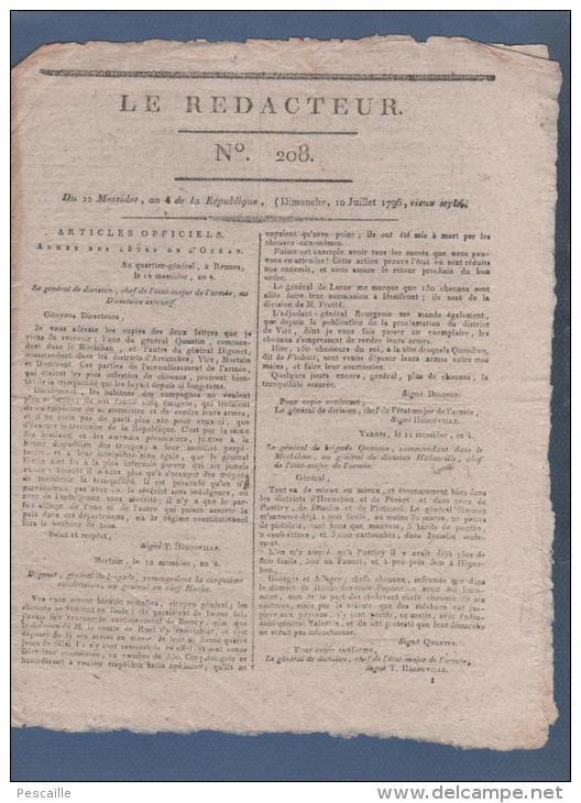 LE REDACTEUR 10 07 1796 - RENNES MORTAIN VANNES CHOUANS - KLEBER - FETES DE LA LIBERTE 9 ET 10 THERMIDOR - RHEINFELDEN - - Journaux - Quotidiens