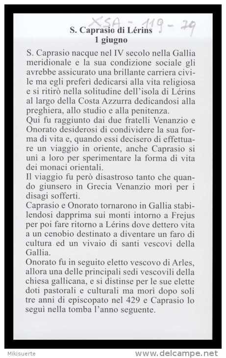 Xsa-11979 S. San CAPRASIO DI LERINS Santino Holy Card - Religion & Esotericism