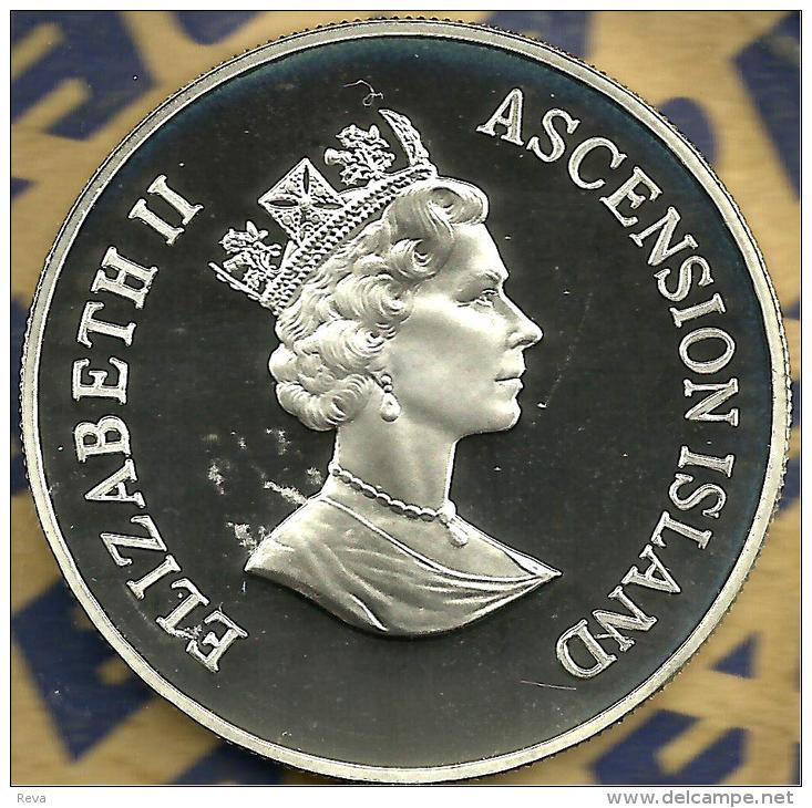 ASCENSION ISL  50 PENCE BIRD WWF CONSERVATION FRONT QEII HEAD BACK 1998 SILVER PROOF KM10a READ DESCRIPTION CAREFULLY!! - Ascensione