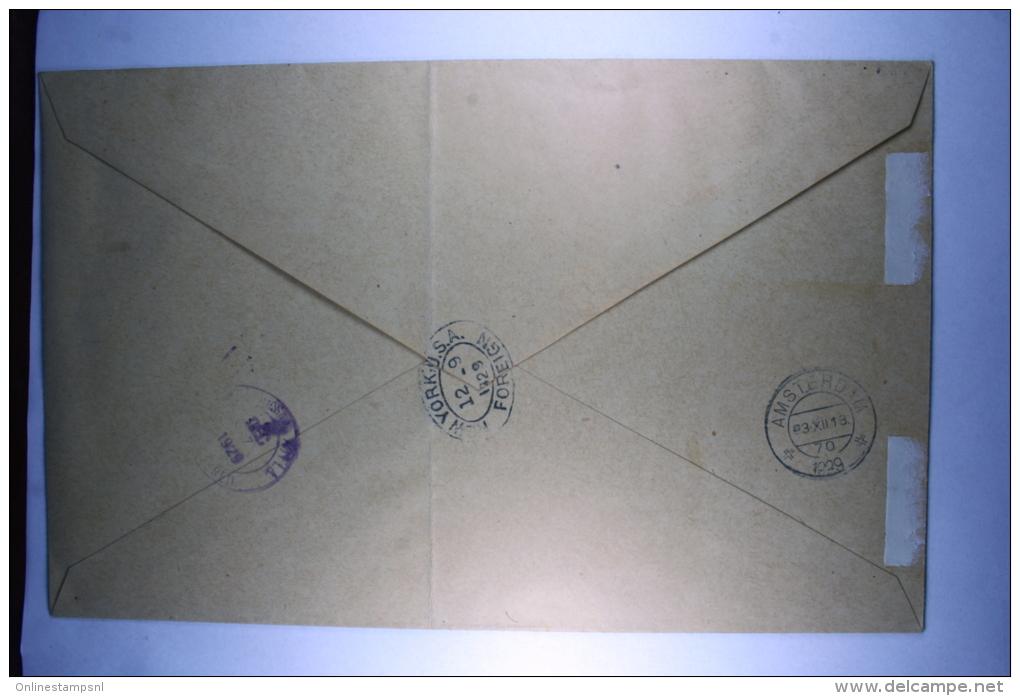 Suriname Registered Airmail Cover  Paramaribo  Via New York To Amsterdam 1929, NVPH 130-136 Complete - Suriname ... - 1975