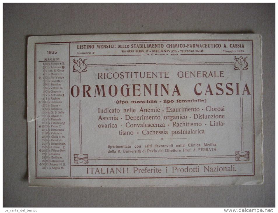 """Carta Assorbente/buvard """"Listino Stabilimento Chimico-Farmaceutico.Rico Stituente Generale ORMOGENINA CASSIA""""1935 - Carte Assorbenti"""