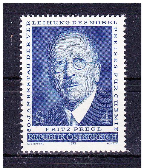 AUSTRIA  1973. Fritz Pregl - 50 Years Nobel  Prize  ,  Y&T  #  1265 Cv  1.20  E , ** M N H , V V F - 1945-.... 2a Repubblica