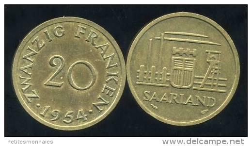 FRANCE  SARRE   20 Franken  1954 - Saarland