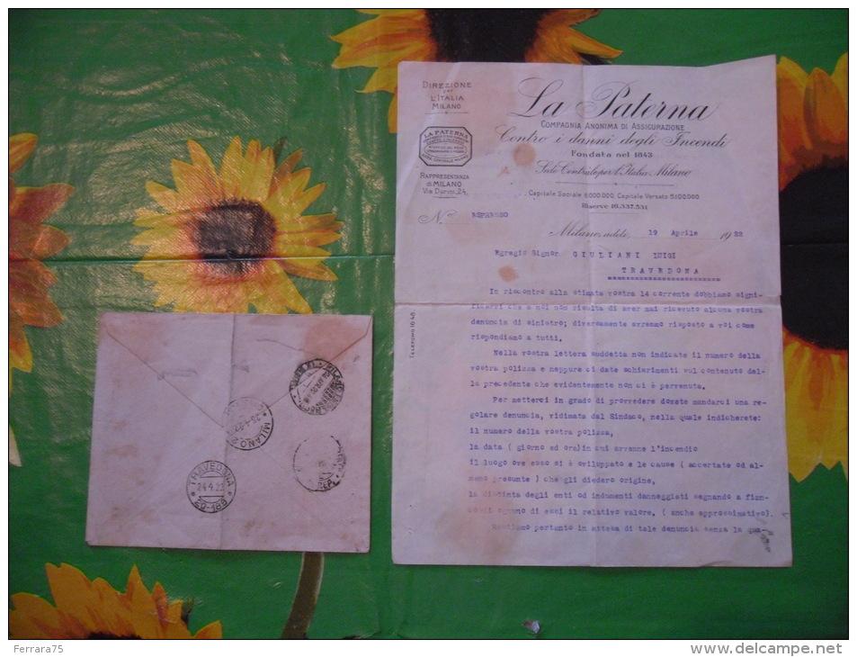 MILANO LA PATERNA COMPAGNIA ANONIMA DI ASSICURAZIONE BUSTA+LETTERA 1922 - Italia