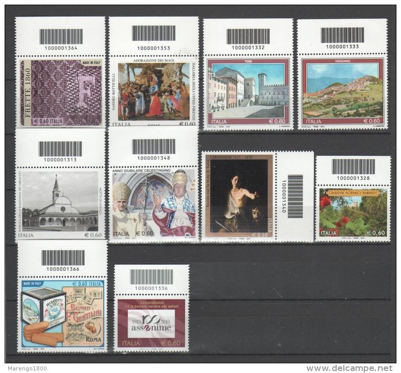 ITALIA 2010 - Lotto 10 Francobolli Con Codice A Barre - Colecciones