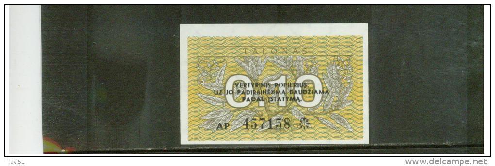 LITAUEN  ,  LITHUANIA  ,   0.10 Talonas  ,   Pick#29b - Lituanie