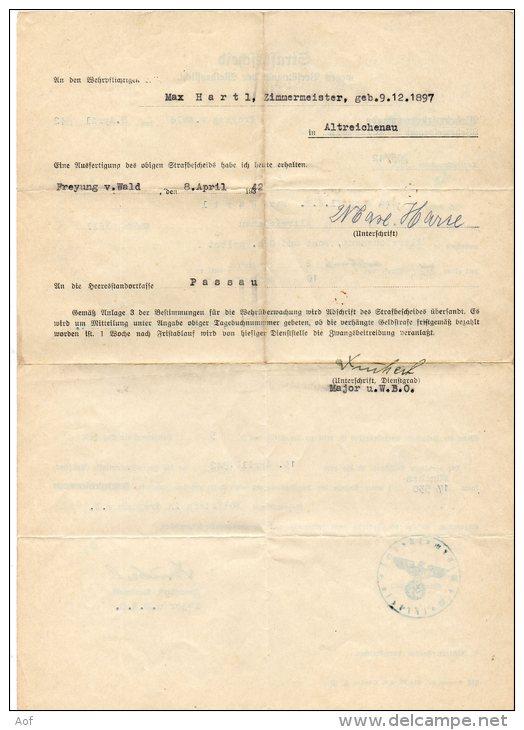 Strasbescheid Allemand 1942 - Documents