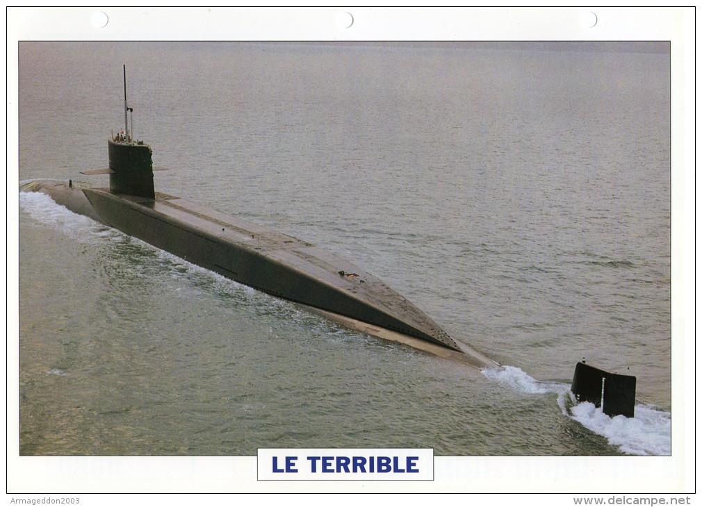 FICHE 25 X 18.5 CM SOUS-MARIN NUCLEAIRE LANCE-ENGINS FRANCAIS LE TERRIBLE 1969 TBE - Boats