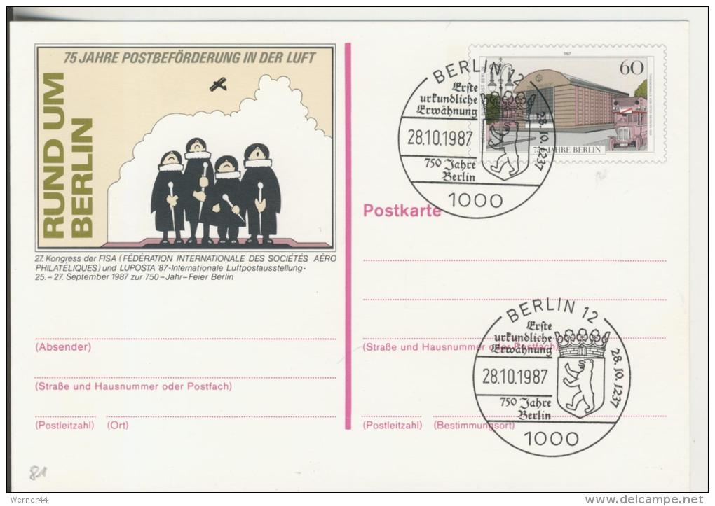 Berlin Vom 28.10.1987   75 Jahre Postbeförderung In Der Luft  -  60 Pfennig  (81) - FDC: Briefe