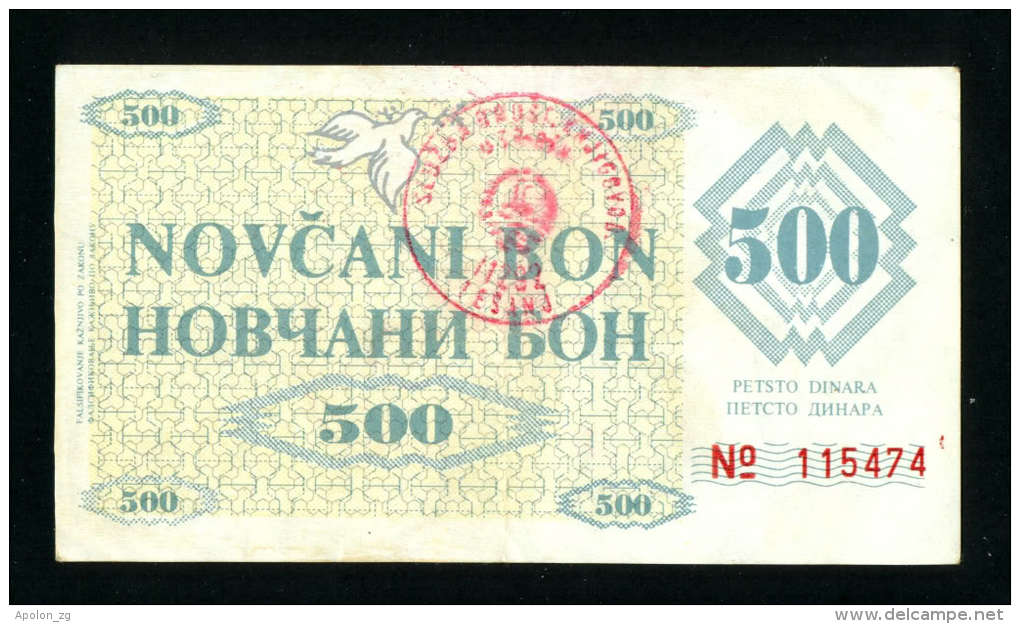 BOSNIA, 500 Dinara 1992 XF+, PNL, Two Hndst.TESANJ & ZENICA , EXTREMELY RARE !!! - Bosnia And Herzegovina