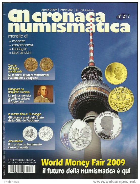 RIVISTA  CRONACA NUMISMATICA  N. 217  APRILE  2009 - Italian