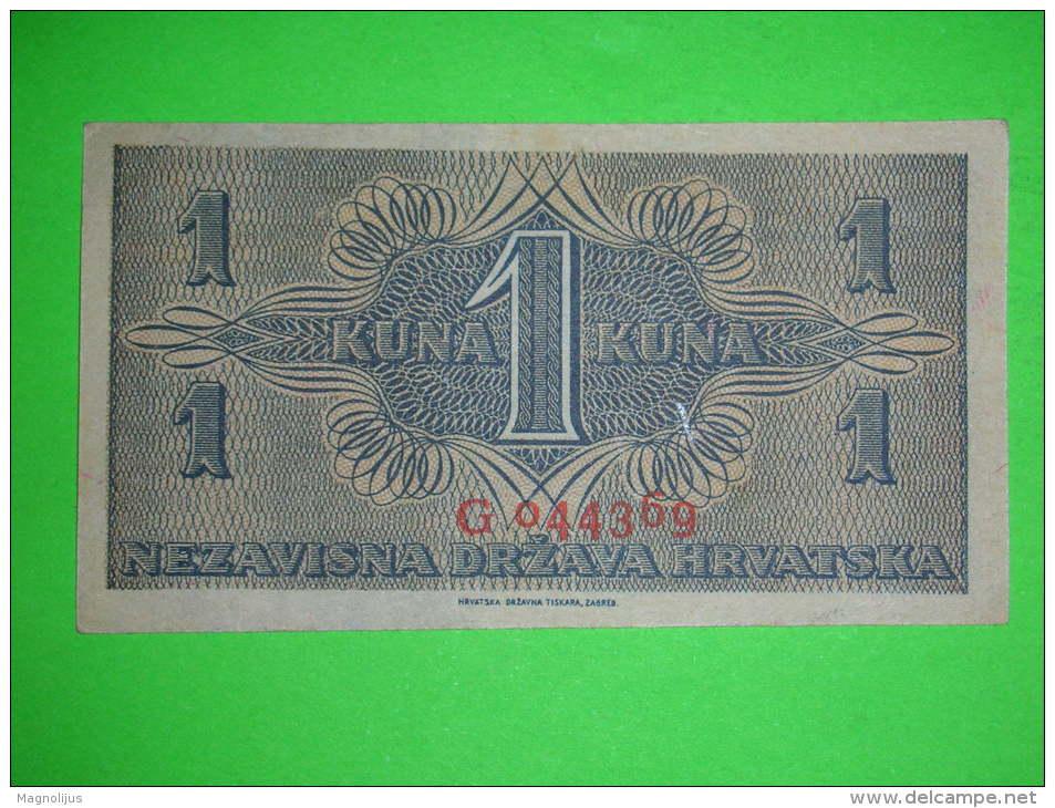 R!R!,Croatia,NDH,Hrvatska,WWII ,1942.,1 Kuna,UNC,banknote,paper Money,bill,vintage - Croatie