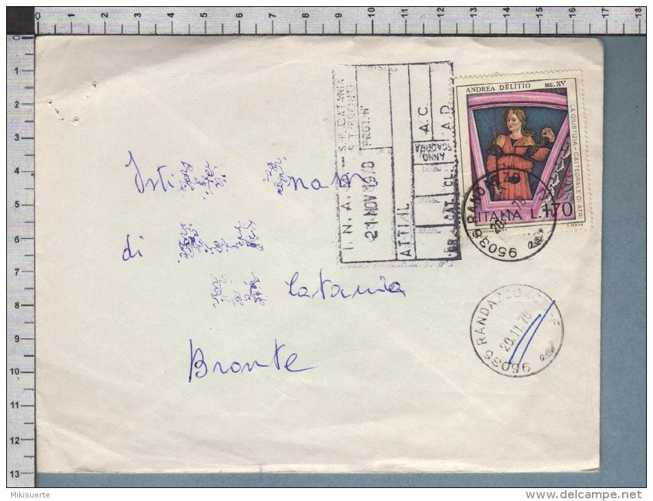 B9644 Italia Storia Postale 1978 ANDREA DELITIO LA GIUSTIZIA CATTEDRALE DI ATRI Lire 170 RANDAZZO - 6. 1946-.. Repubblica