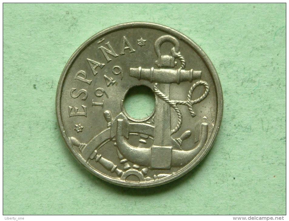 1949 - 50 Centimos / KM 777 ( Uncleaned - For Grade, Please See Photo ) ! - 50 Céntimos