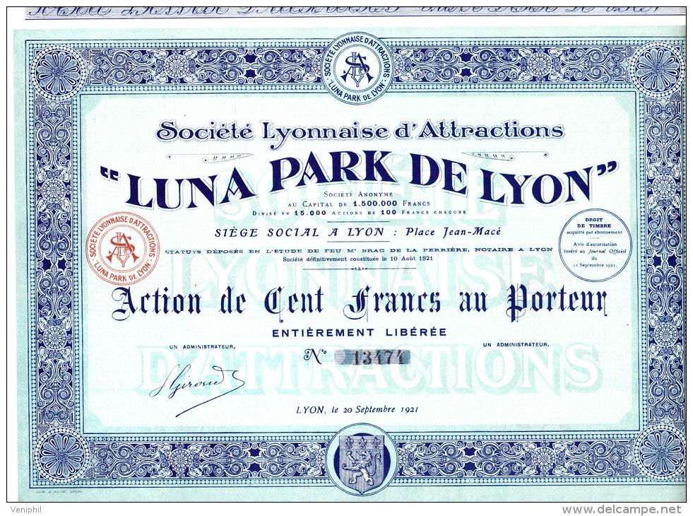 """ACTION DE 100 FRANCS - """"LUNA PARK DE LYON """" 1921 - Afrique"""