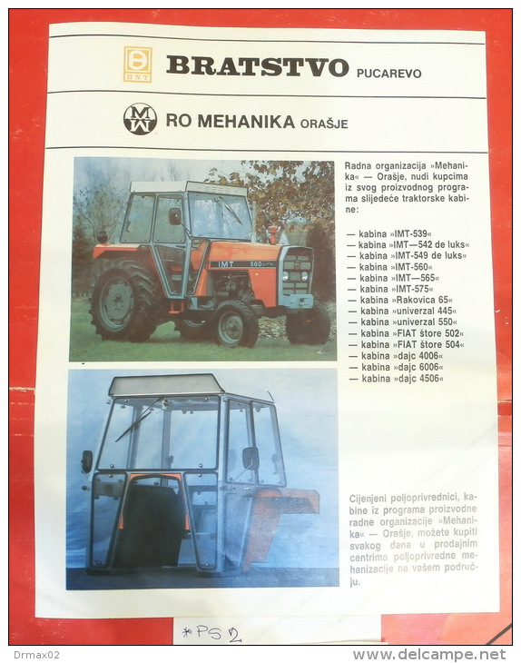 Cabine BNT BRATSTVO Pucarevo (Bosnia) FIAT DAJC ~ TAM Camion Truck, IMT UNIVERSAL Tractor Tracteur Excavator Caterpillar - Tracteurs