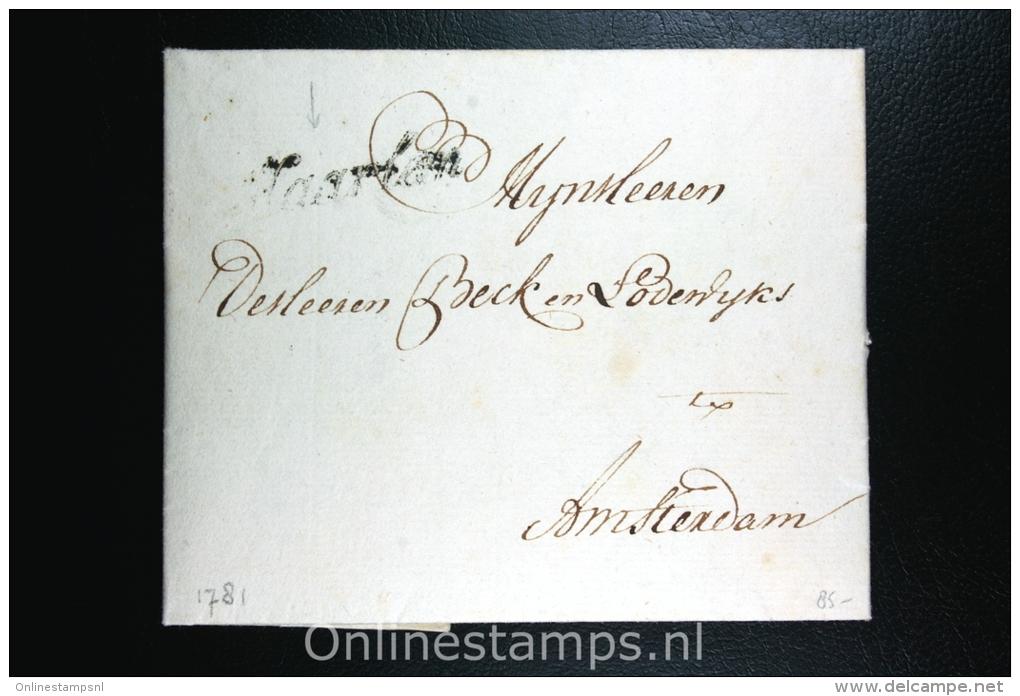 Nederland: Complete Brief Haarlem Naar Amsterdam, Haarlem Zwart Cursief 1781 - ...-1852 Voorlopers