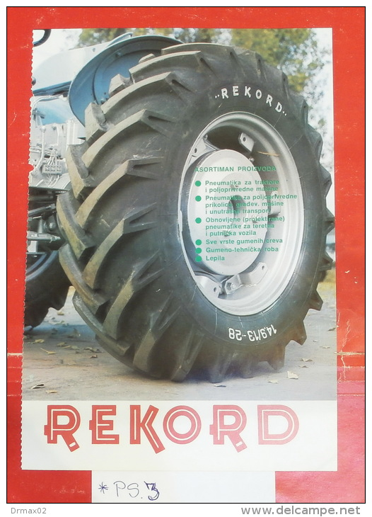 PNEU REKORD Rakovica (Serbia) Car TRACTOR Tracteur Traktor Rifen Rubber Tyre Pneus Pneumatique Tyres Tires Tire Banden - Tracteurs