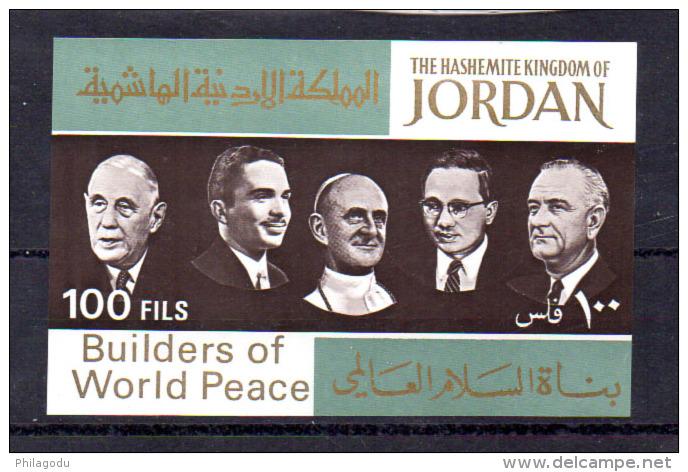 Artisans De La Paix, Thant, De Gaule, Johnson, Paul VI, Hussein, 12 X  BK 39**, Cote 37 € - Jordanie
