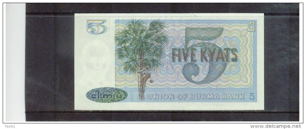 MYANMAR  , BURMA  ,   5 Five Kyat  , ( 1973 )  ,      Pick# 57   ,   Unc - Myanmar