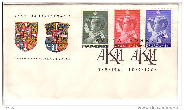 GOOD GREECE FDC 1964 - Royal Wedding - FDC