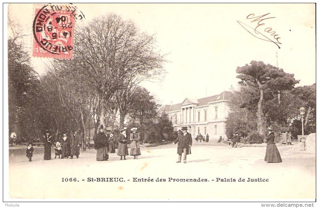 Saint-Brieuc (Côtes D'Armor)-1904-Entrée Des Promenades-Palais De Justice-Animée-Costumes Belle-Epoque-Karten-Bost-Breiz - Saint-Brieuc