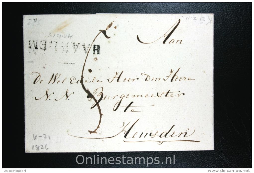 Nederland: Cover Gekapt Departement Stempel Haarlem Naar Heusden 1826 - ...-1852 Voorlopers
