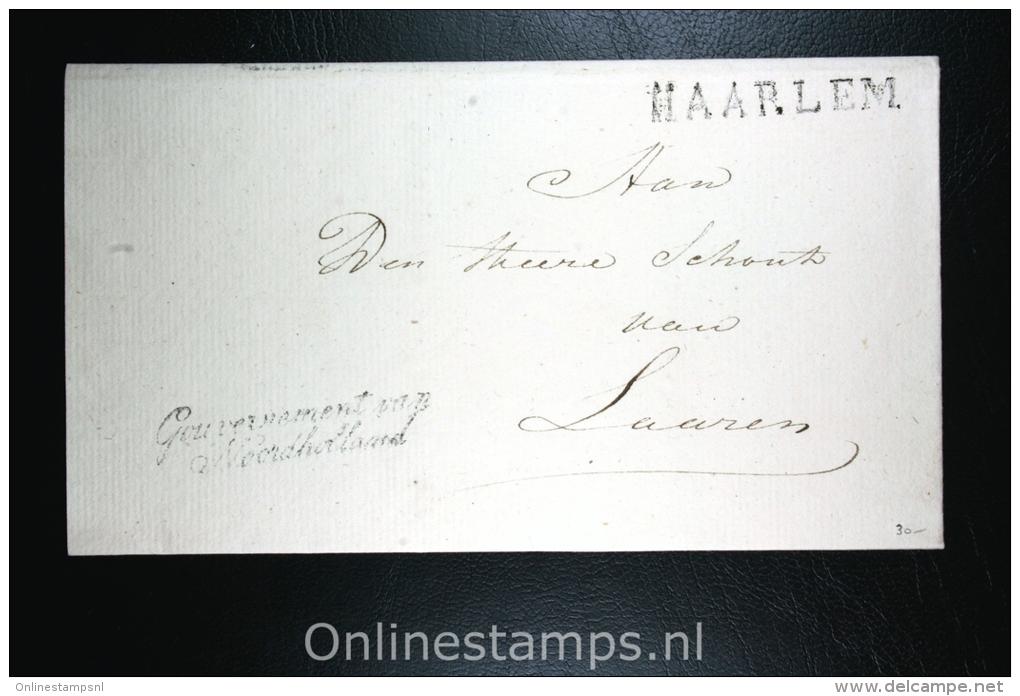 Nederland: Cover Naamstempel Haarlem , Gouvernement Noordholland, Naar Laaren - ...-1852 Voorlopers
