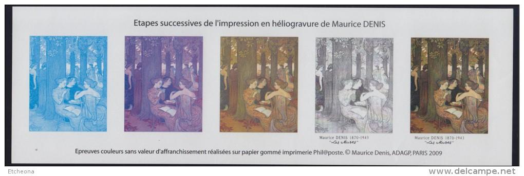 """= Maurice Denis, Etapes Successives De L'impression Héliogravure De """"Les Muses"""". Bloc Gommé Neuf - Blocs & Feuillets"""