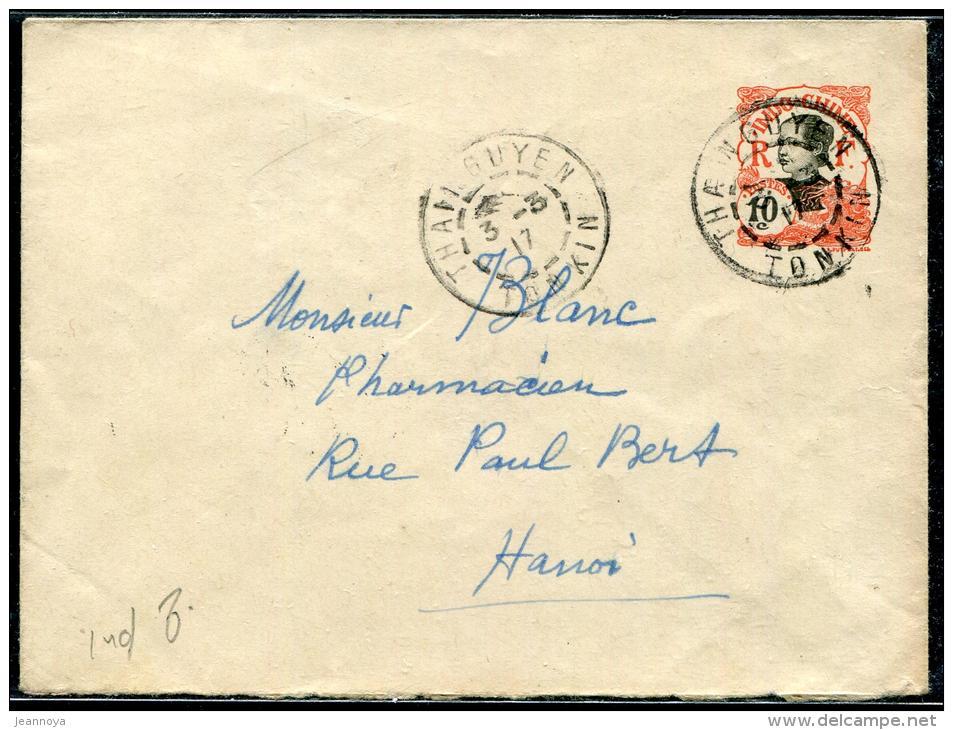 INDOCHINE - ENTIER POSTAL 10c. OBL. THAINGUYEN LE 3/3/1917, POUR HANOI - TB - Briefe U. Dokumente
