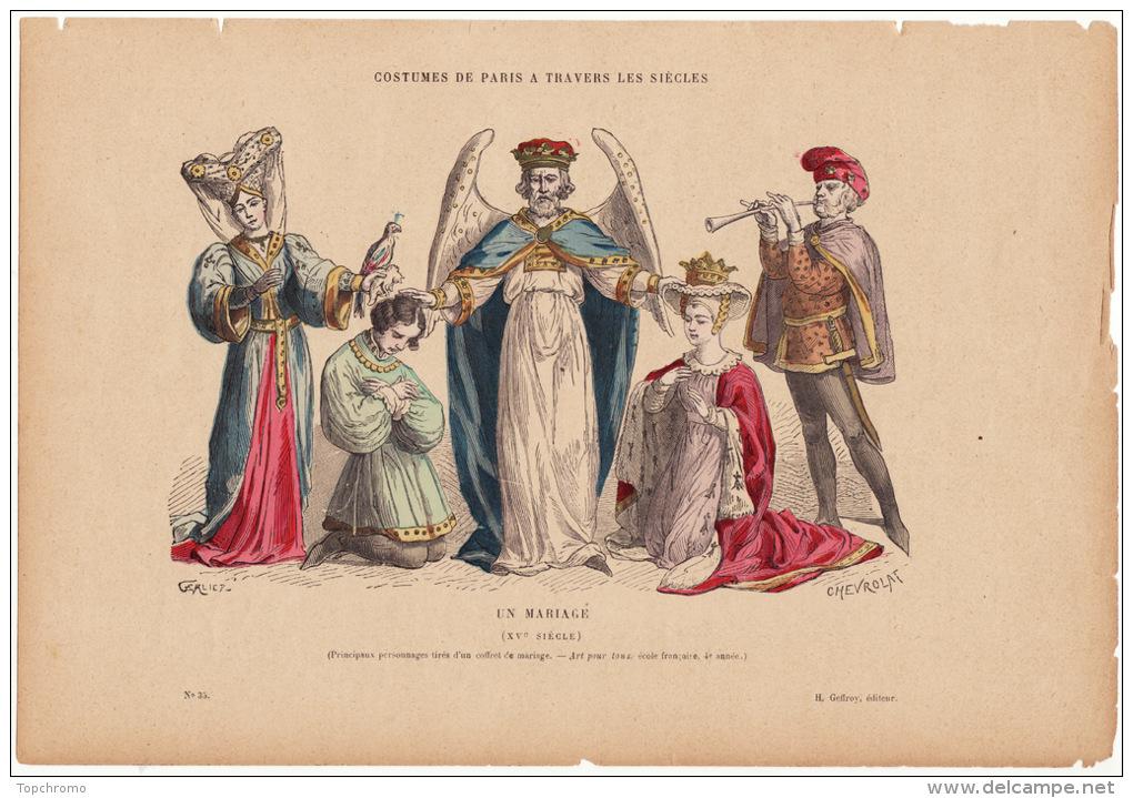 Gravure Coloriée Costumes De Paris à Travers Les Siècles Un Mariage (XVème Siècle) - Prints & Engravings