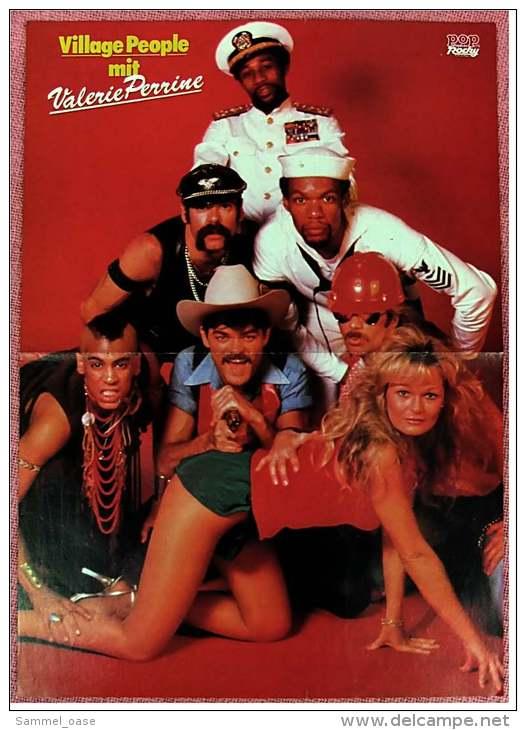 Kleines Musik-Poster - Band Village People Mit Valerie Perrine  - Rückseite : Gruppe Hot Legs - Von Pop Rocky Ca. 1982 - Plakate & Poster