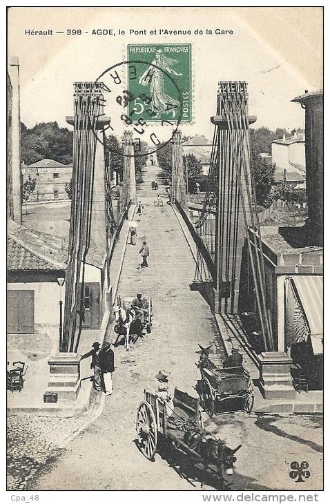 Hérault- Agde -Le Pont Et L'Avenue De La Gare. - Agde