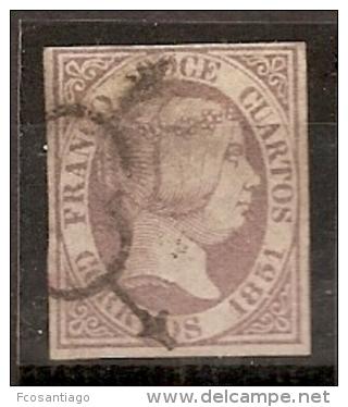 ESPAÑA 1851 - Edifil #7 (Punto Claro) - Precio Cat. €265 - 1850-68 Kingdom: Isabella II